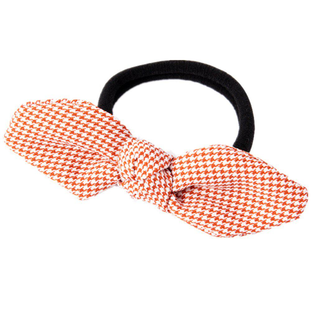 Solid Color Houndstooth Rubber Band Bow Rope - ROSE RED