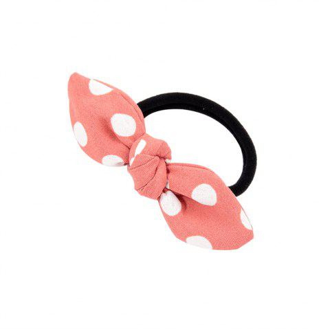 Solid Color White Dot Rubber Band Bow Hai Rline - PINK