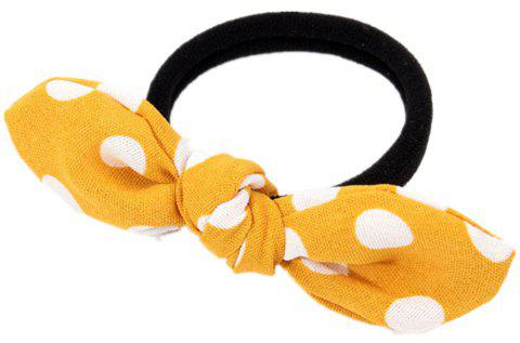 Solid Color White Dot Rubber Band Bow Hai Rline - BRIGHT YELLOW
