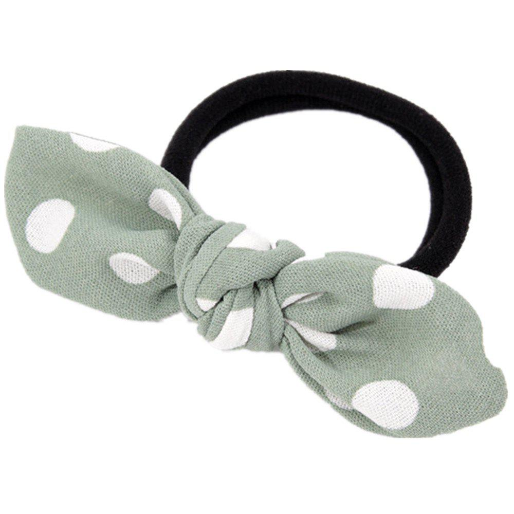 Solid Color White Dot Rubber Band Bow Hai Rline - GREEN THUMB