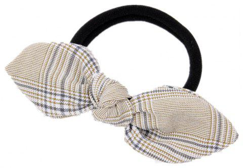 Solid Color Plaid Rubber Band Bow Hair Rope - KHAKI