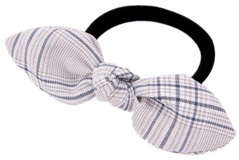 Solid Color Plaid Rubber Band Bow Hair Rope - WHITE