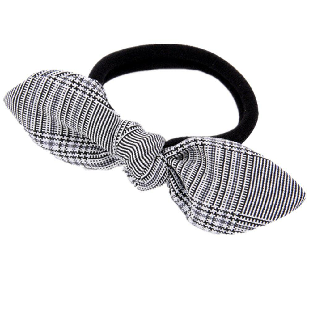 Solid Color Plaid Rubber Band Bow Hair Rope - DARK GRAY