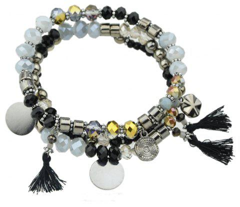 Multilayers Bead Tassel Chain Bracelet - SILVER