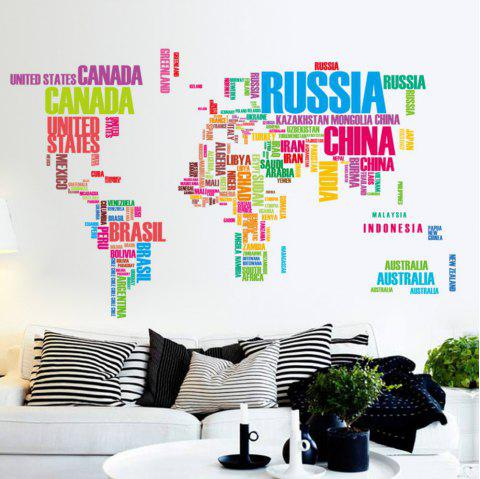 Creative Letters World Map Art Chambre Décoration Murale Autocollant - multicolor