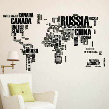 Creative Letters World Map Art Bedroom Home Decoration Wall Sticker - BLACK