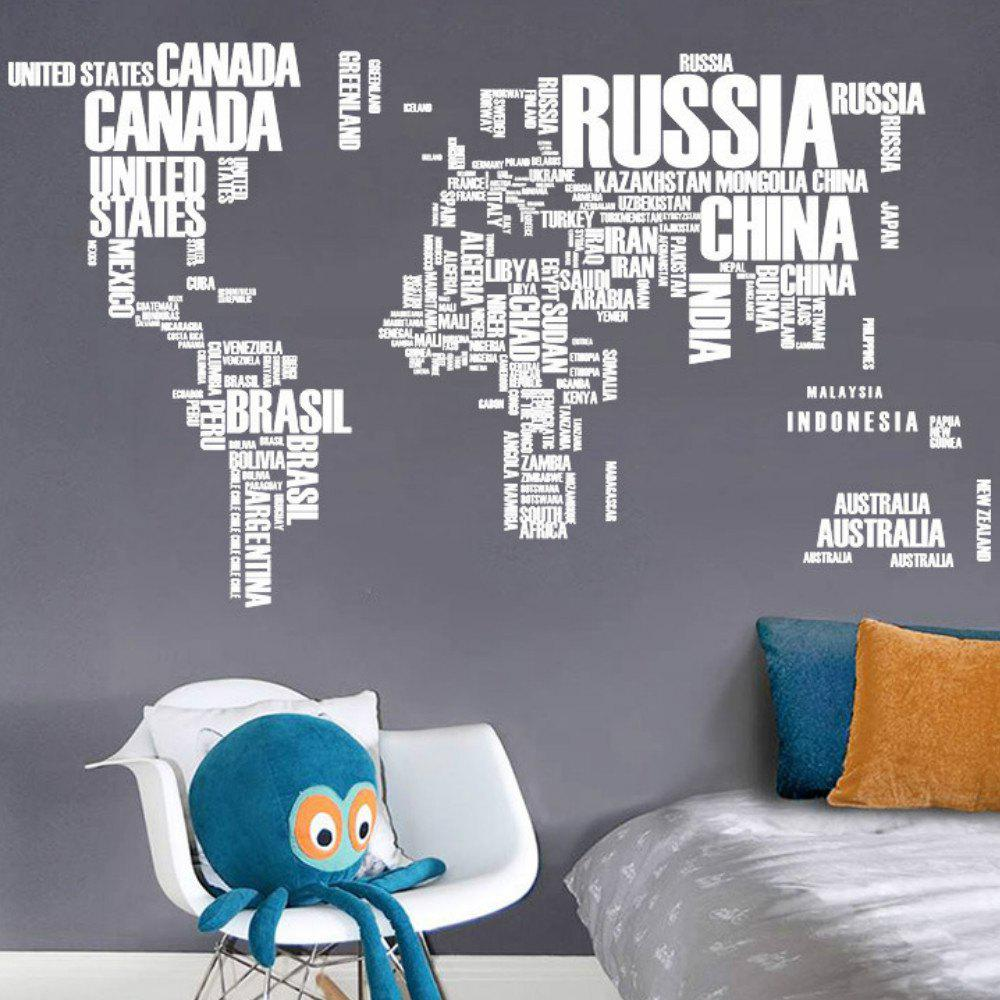 Creative Letters World Map Art Bedroom Home Decoration Wall Sticker - WHITE