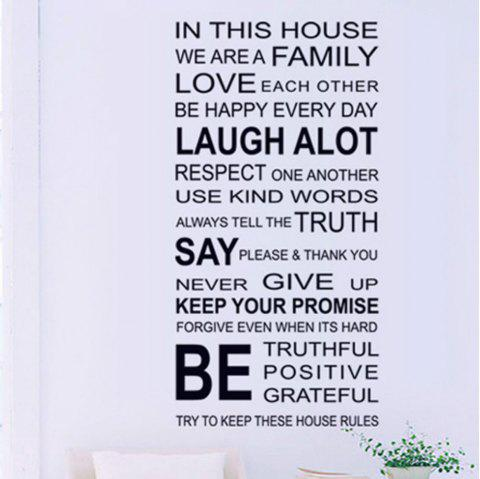 Anglais Proverbes Family House Rules Stickers muraux Decal Decor - Noir