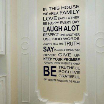 English Proverbs  Family House Rules Wall Stickers Decal  Decor - BLACK