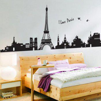 Tower Background Wall Sticker Living Room - BLACK