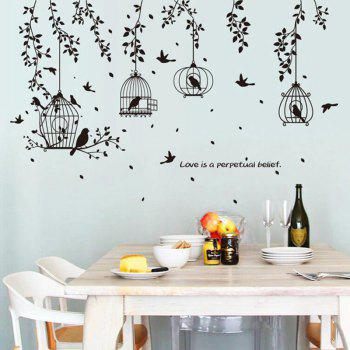 New Black Birdcage Leaves Decorative Wall Stickers - BLACK