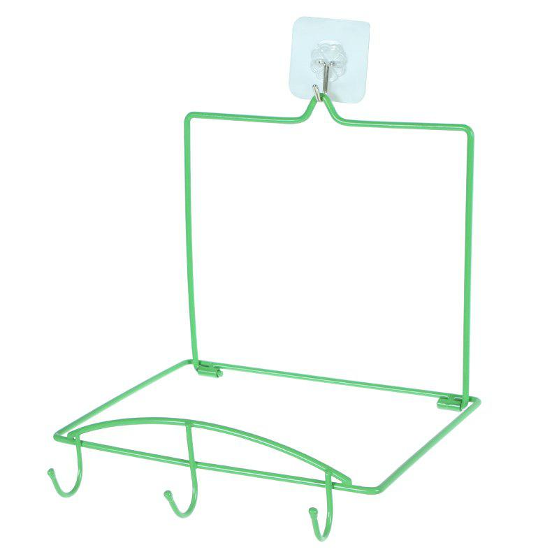 Punch-Free Punching Strong Suction Cup Washbasin Storage Rack Hook - GREEN 25X20X5CM