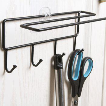 Bathroom Wall Hanging Punch-Free Towel Rack Hook - BLACK 8X8X22CM