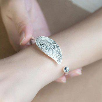 Simple and Stylish Leaf Open Bracelet - SILVER