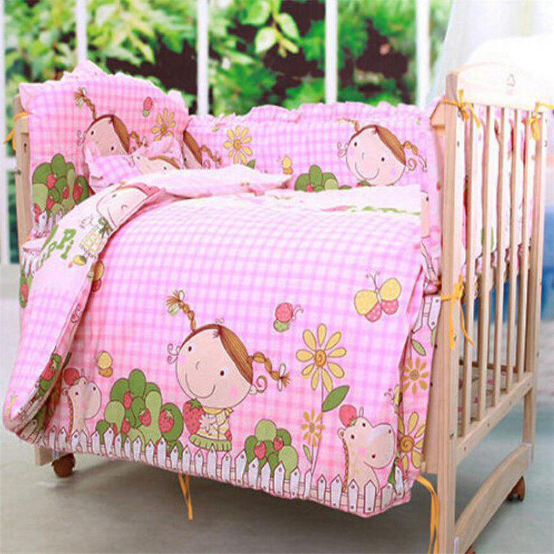 5PCS Cotton High Quality Baby Bedding Five-Piece Removable and Washable - PINK TWIN