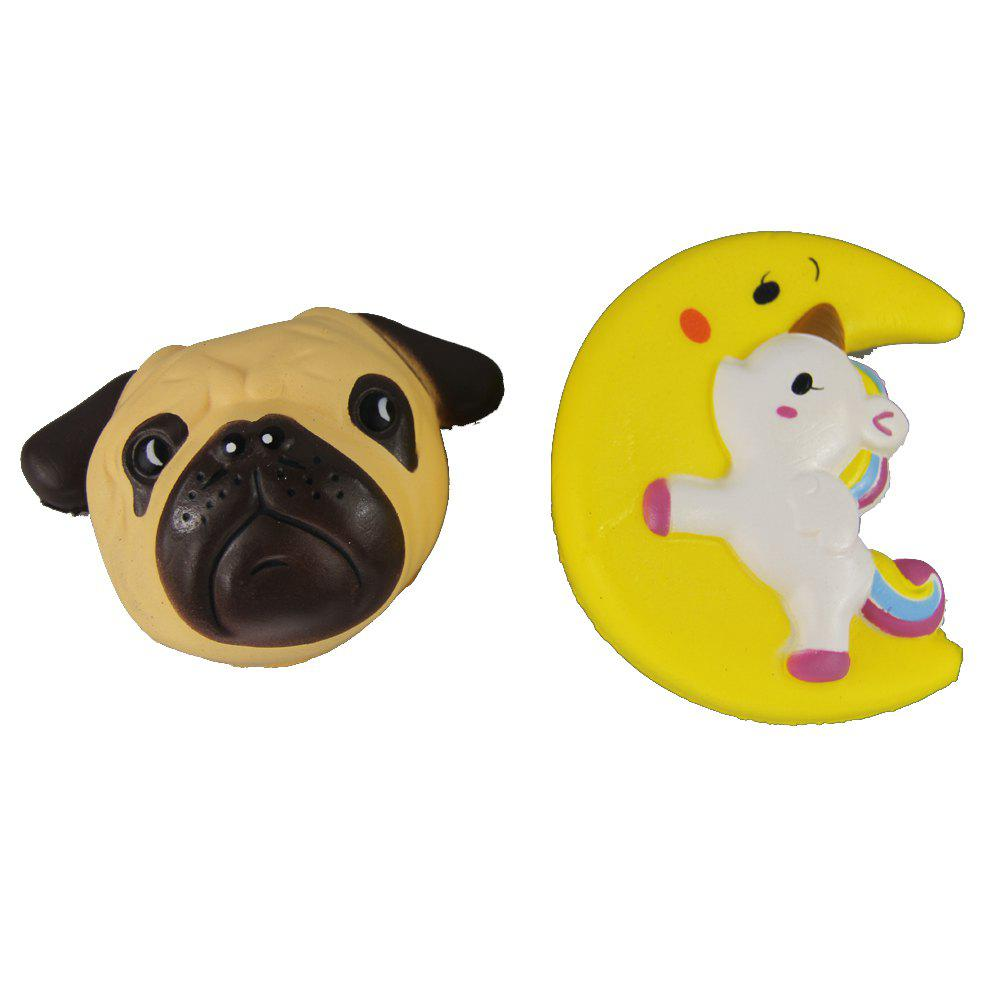 2PCS Jumbo Squishy Dog et Moon Horse soulager les jouets de stress - multicolor A