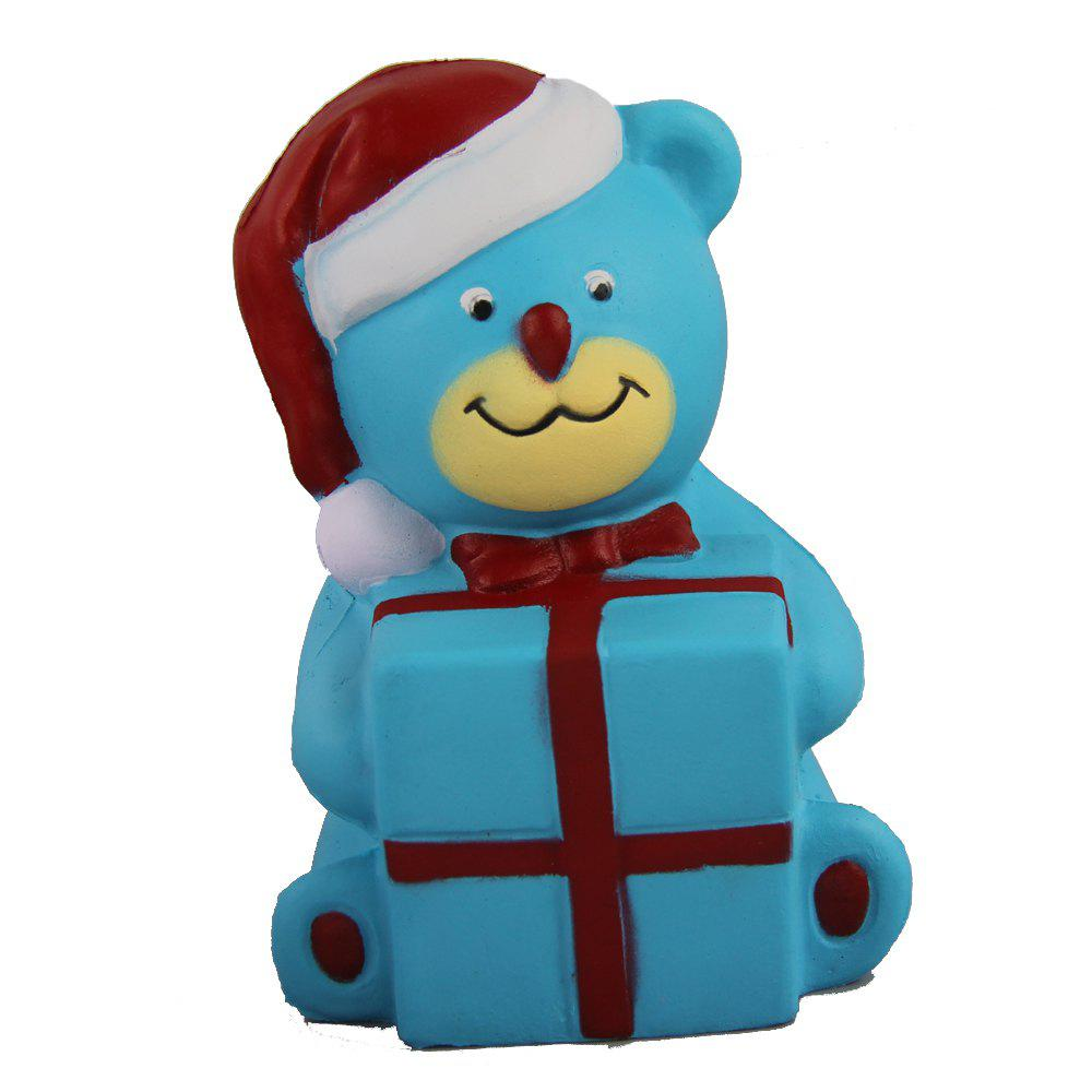 Jumbo Squishy Christmas Bear with Box Toy - CORAL BLUE