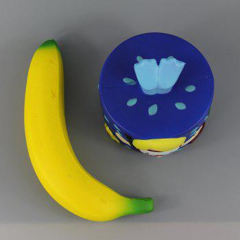 2PCS Jumbo Squishy Blue Diver Cake and Bananas Relieve Stress Toys - multicolor A