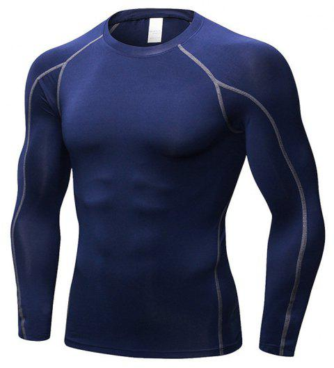 Men's Fitness Running Training T-Shirt Elastic Quick-drying Long Sleeve Shirt - CADETBLUE 2XL