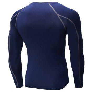 Men's Fitness Running Training T-Shirt Elastic Quick-drying Long Sleeve Shirt - CADETBLUE L