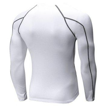 Men's Fitness Running Training T-Shirt Elastic Quick-drying Long Sleeve Shirt - WHITE S