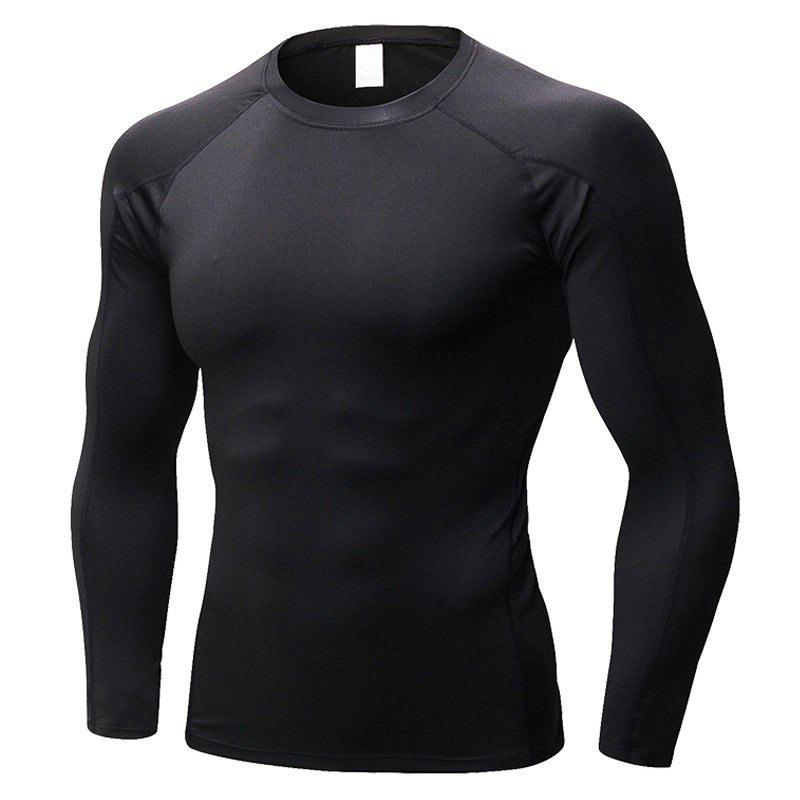 Men's Fitness Running Training T-Shirt Elastic Quick-drying Long Sleeve Shirt - BLACK 2XL