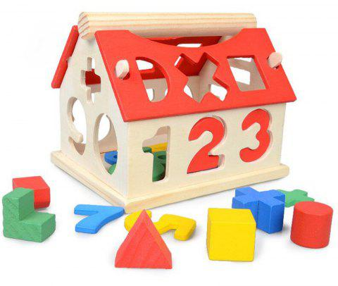 Wooden Digital Number House Building Toy Educational Intellectual Block - multicolor A
