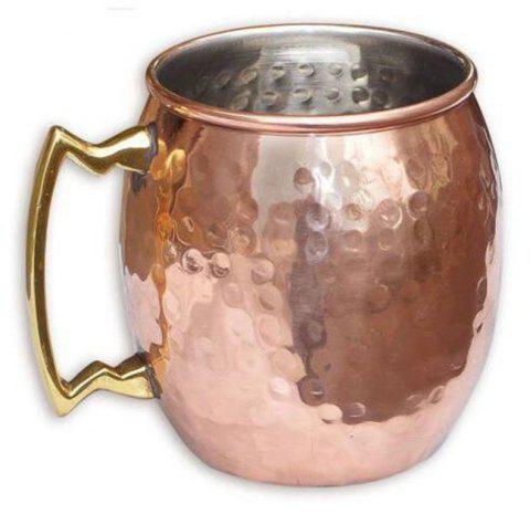 18.6 oz Hammered Copper Plated Stainless Steel Cup Set Mugs - COPPER