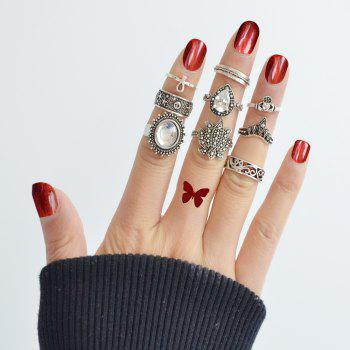 9pcs Silver Color with Geometry Ring for Women - SILVER RING SET