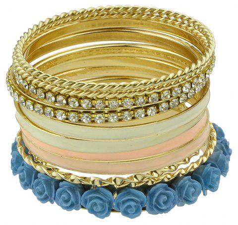 11pcs Gold-color with Rhinestone Colorful Enamel Bracelet - BLUE IVY