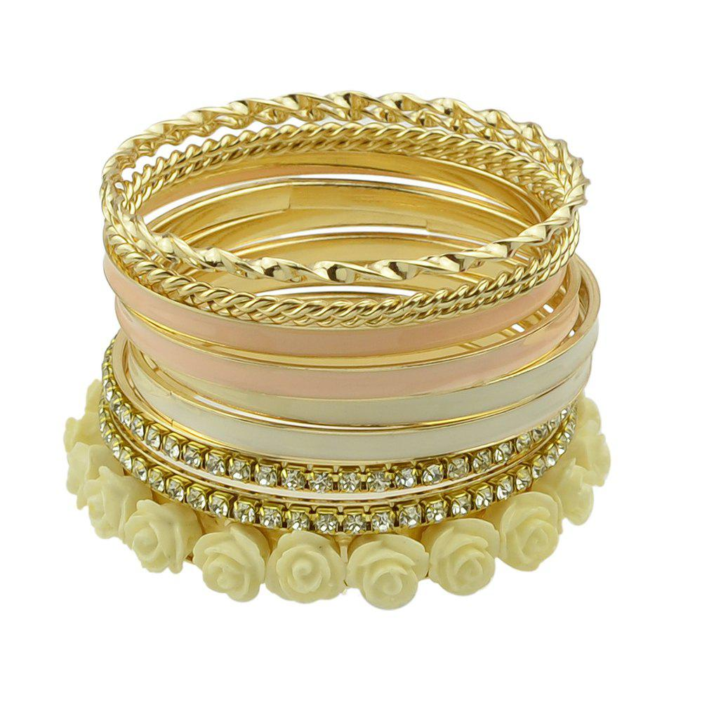 11pcs Gold-color with Rhinestone Colorful Enamel Bracelet - BEIGE