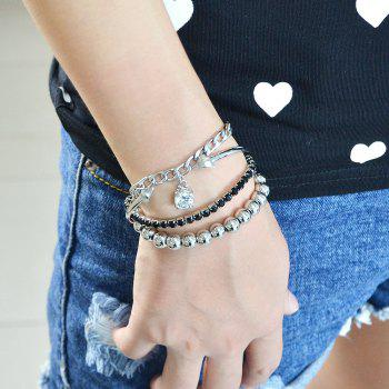 Silver Plated Beads Chain Cuff Bracelet for Women - SILVER