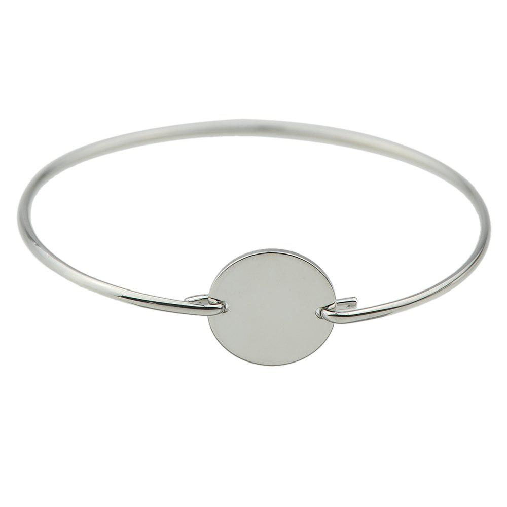 Simple Silver Color Plated Metal Thin Bangle - SILVER