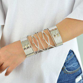 Fashion Hollow-out Wide Bracelet - SILVER