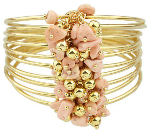 Metal with Colorful Stone Big Bangle - MISTY ROSE
