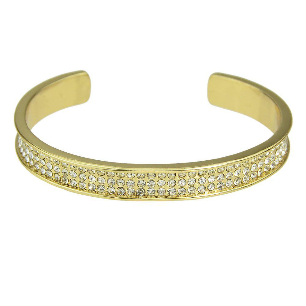 Metal with Full Rhinestone Cuff Bangle - GOLD