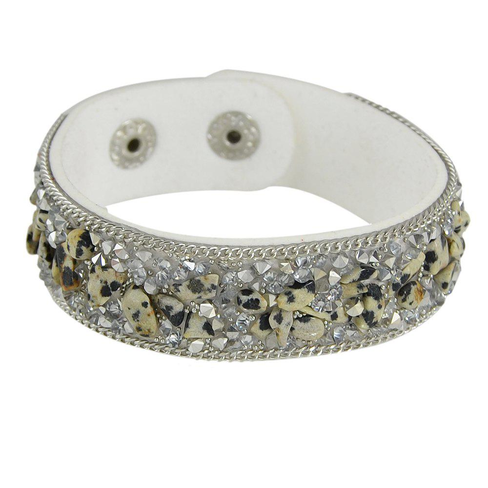 Perle colorée réglable en cuir PU Wrap Bangle - Blanc