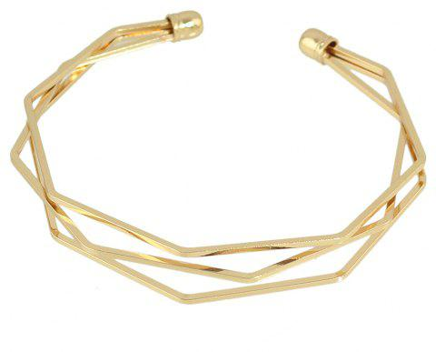 Personality Hollowed-out Metal Cuff Bangle - GOLD