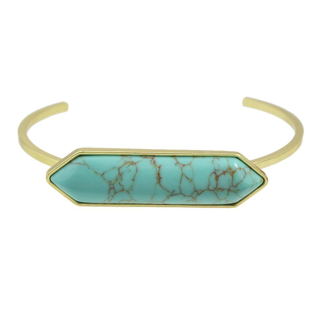 Metal with Big Turquoise Cuff  Bangle - TURQUOISE