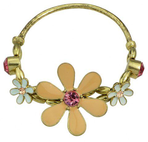 Gold Chain with Rhinestone Colorful Enamel Flower Bracelet - GOLD