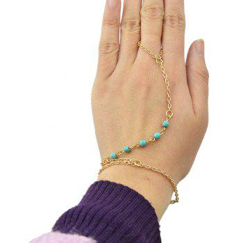 Gold Color with Turquoise Finger Bracelet - GOLD