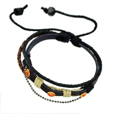 Multilayer Chain PU Leather with Rhinestone Wrap Bracelet - DEEP COFFEE