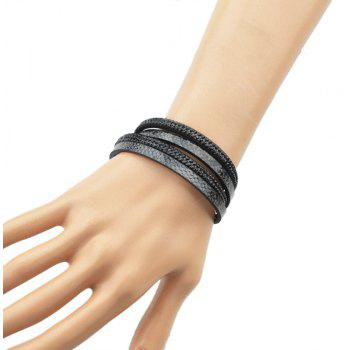 Multilayer Chain PU Leather with Rhinestone Bracelet - BLACK