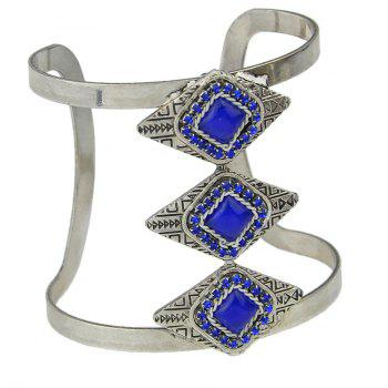 Metal Gemstone Geometry Width Bracelet for Women - BLUE