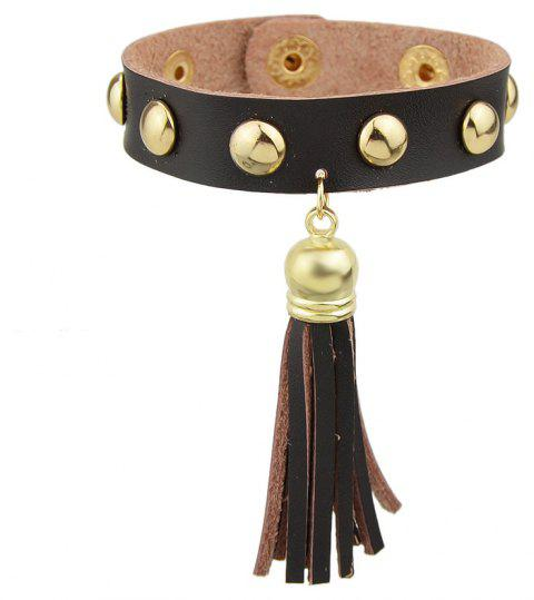 Bracelets longs en cuir PU Fashion Long gland - Café profond