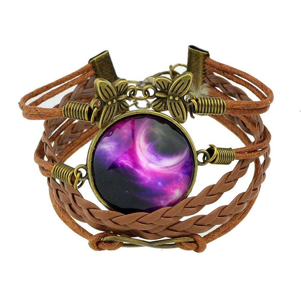 Knitted PU Leather Multilayer Chain Bracelet - multicolor A