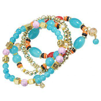 Beautiful Colorful Bead and Resin Strand Bracelet - CYAN OR AQUA