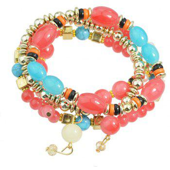 Beautiful Colorful Bead and Resin Strand Bracelet - WATERMELON PINK