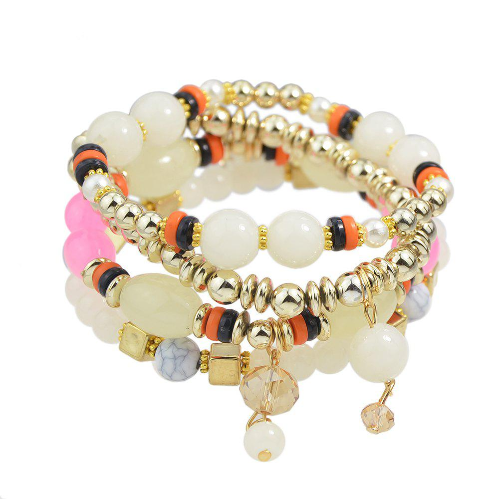 Beautiful Colorful Bead and Resin Strand Bracelet - BEIGE
