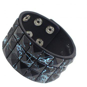 PU Leather with Colorful Rivet Width Bracelet - BLACK